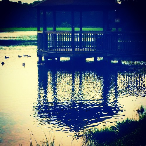 sunset shadow lake reflection nature water square outdoors pier twilight ducks gazebo squareformat boardwalk iphoneography instagramapp xproii