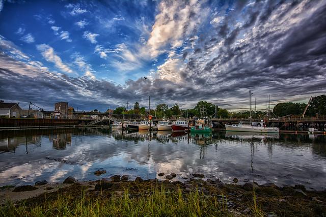 Portsmouth's fishing fleet near Prescott Park, early morning