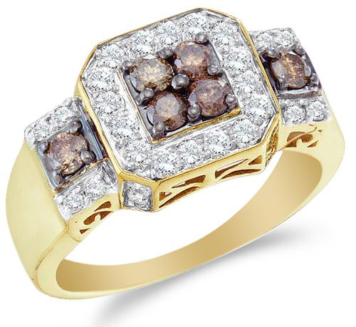 Low Cost 14k Yellow Gold Large White And Chocolate Brown D Flickr