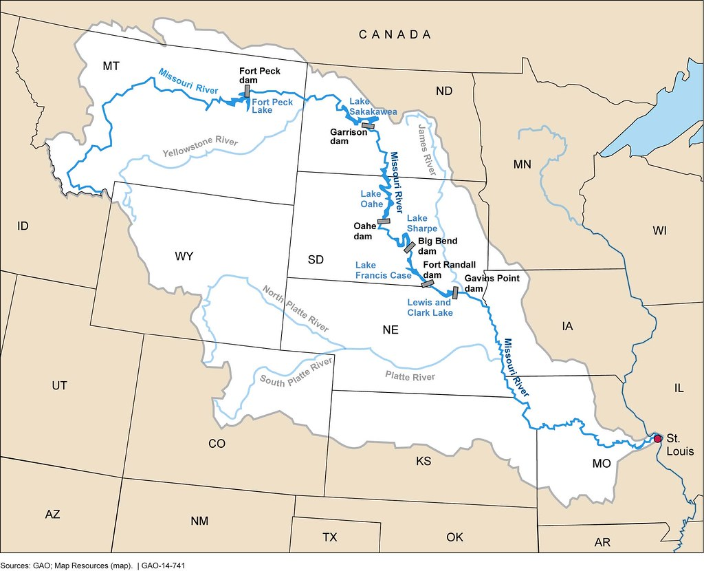 Figure 1 Missouri River Basin And The Six Mainstem Dams A Flickr - James-river-on-us-map