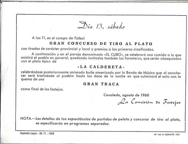 Programa Fiestas de San Lorenzo año 1960