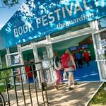 Sunny entrance to the Edinburgh International Book Festival |