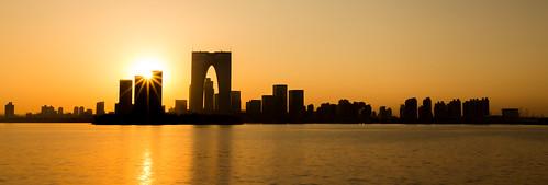 suzhou china asia lake water jinji reflection sunset skyline gate orient skyscraper city citylights