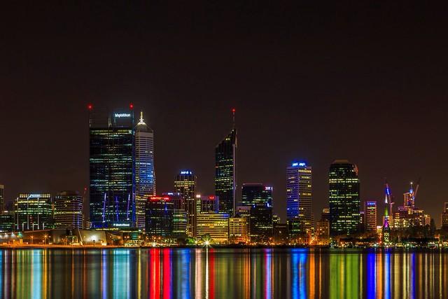 Perth, Western Australia by night.