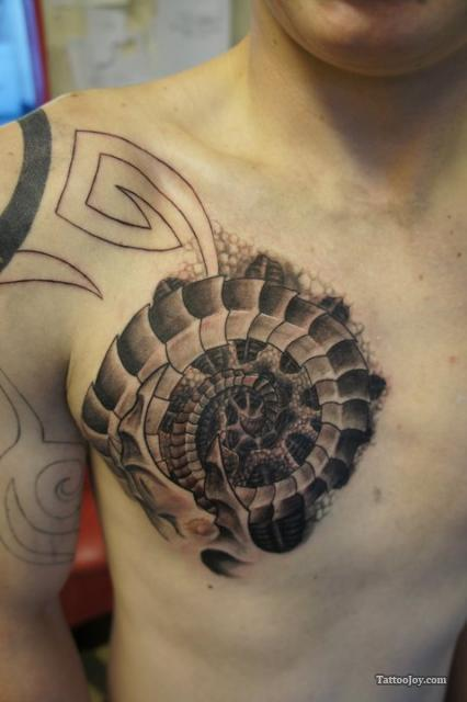 Biomechanical Chest Tattoo Design 069 A Photo On Flickriver