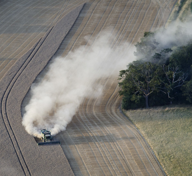 Smoke billowed from the stricken combine harvester setting fire to the Norfolk rainforest