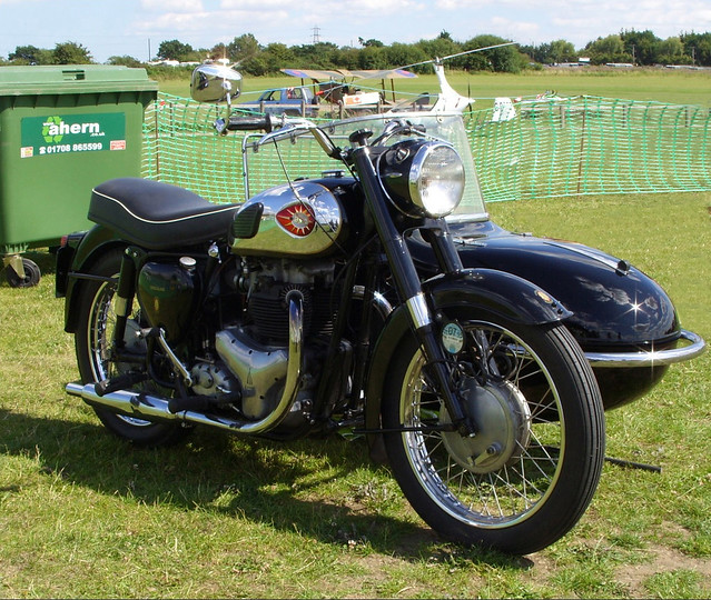 BSA GOLDEN FLASH 650cc TWIN CYLINDER SWINGING ARM MOTORCYCLE AND SIDECAR COMBINATION BRITISH MADE AT DAMYNS HALL MILITARY AND CAR SHOW IN AN EAST LONDON BOROUGH SUBURB ESSEX ENGLAND  SS854565