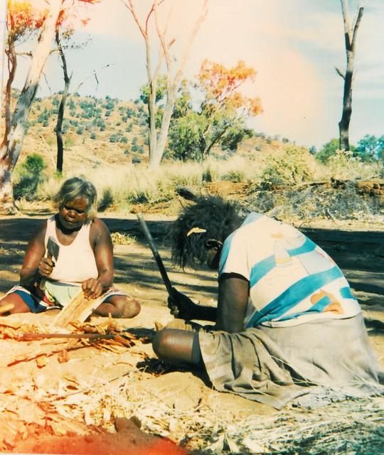 Woman crafting coolamons