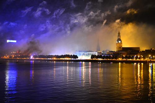 city summer festival night river lights cloudy fireworks smoke event riga 2014 daugava blueandblack
