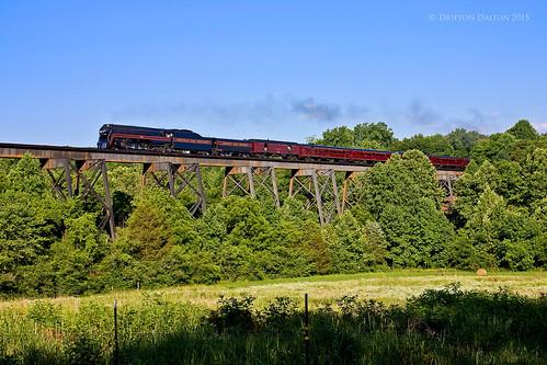 railroad trestle bridge summer june museum train virginia nw outdoor ns smoke norfolk rail steam lynchburg va transportation western rails passenger excursion 611 norfolksouthern 2015 vmt