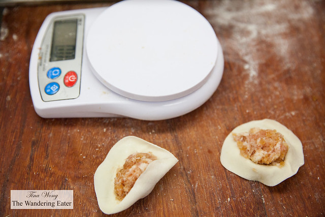 Scale and dumplings to be wrapped