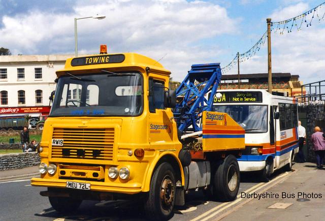 F762 FDV Stagecoach RW19 ERF MEU 72L @ Dawlish 1997