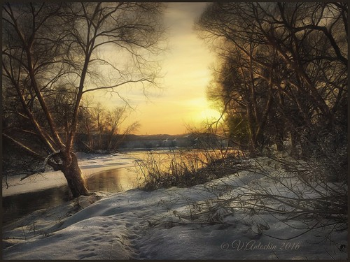 Sunset on the river Protva