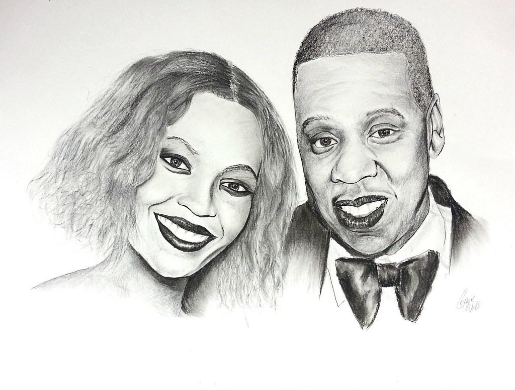 Beyonce x jay z pencil and charcoal portrait art charc