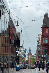 Reflective colliding trams Amsterdam