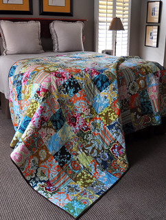 """Patchwork quilt from Amy Butler's """"Belle"""" collection, 80"""" x 86"""""""