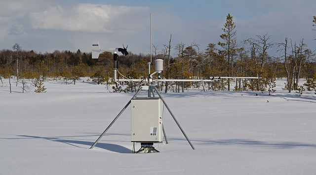 An automatic complex located in the bog in winter