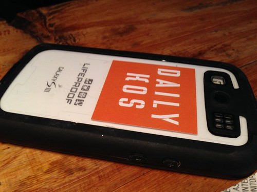 Daily Kos sticker on Christin's phone | by Neeta Lind
