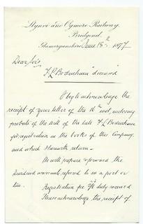 Llynvi and Ogmore Railway letterhead 1877   by ian.dinmore