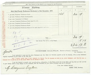 Furness Railway Dividend Warrant 1875 | by ian.dinmore