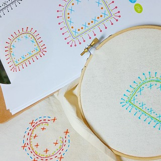 Stitching away on my #polkaabc project!