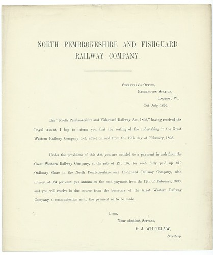 North Pembrokeshire and Fishguard Railway GWR purchase notice 1899 | by ian.dinmore