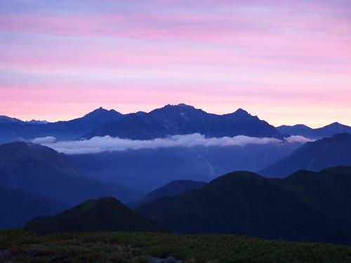 mountain japan sunrise 山 穂高 槍ヶ岳