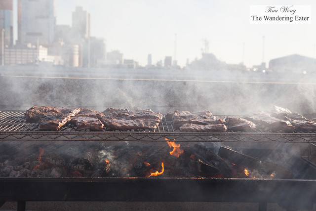 Racks of pork ribs smoking up a storm at The Granary 'Cue & Brew
