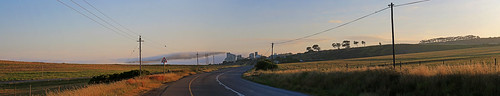 road mist sunrise wires western cape contermanskloof