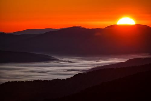 fog sunrise northcarolina blueridgemountains blueridgeparkway brp westernnorthcarolina valleyfog courthousevalleyoverlook