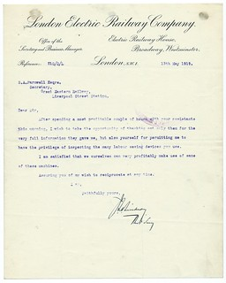London Electric Railway letterhead 1919 | by ian.dinmore