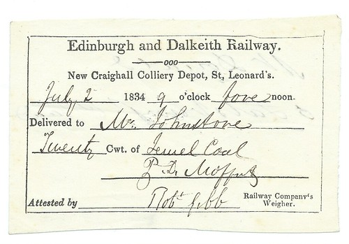 Edinburgh and Dalkeith Railway Delivery note 1834 | by ian.dinmore