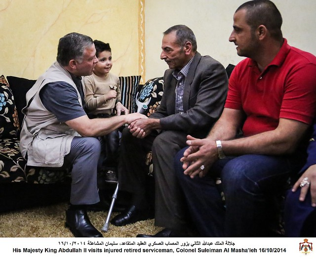 جلالة الملك عبدالله الثاني يزور المصاب العسكري العقيد المتقاعد، سليمان المشاعلة