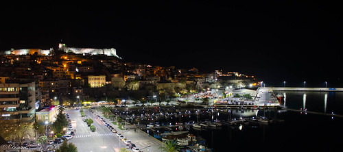 fortress night nightshot greece kavala port sea lights boat macedoniagreece