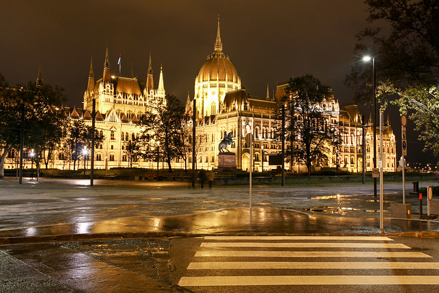 Budapest - the hungarian Parliament after a rainy day