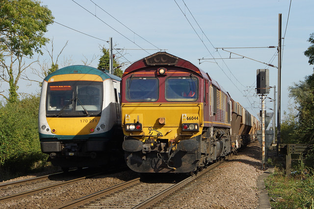 Abellio Greater Anglia 170271 and DB Schenker 66044 - Ely