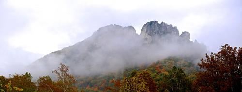 new travel autumn sky mist color fall rock landscape countryside fallcolor bright outdoor westvirginia senecarock