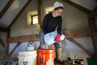 Tara Mixing Finish Coat of Lime Plaster | by goingslowly