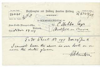 Northampton and Banbury Junction Railway Memo 1907 | by ian.dinmore