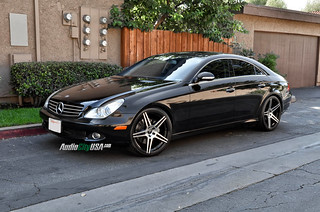 "2007 Mercedes Benz CLS 550 on 20"" AZAD 5120 black machine deep concave 