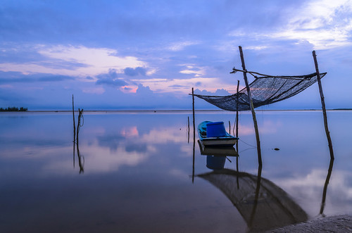 blue seascape reflection nature sunrise landscape scenery malaysia fishingboat kelantan jubakar abiom