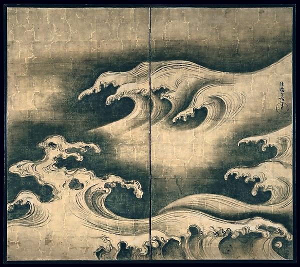 Ogata Korin (1658-1716) - 1704-09 Rough Waves (Metropolitan Museum of Art, New York City)