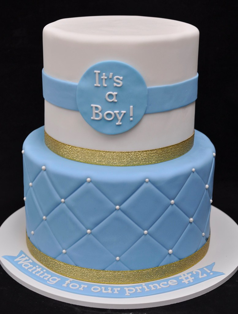 Gold blue and white baby shower cake