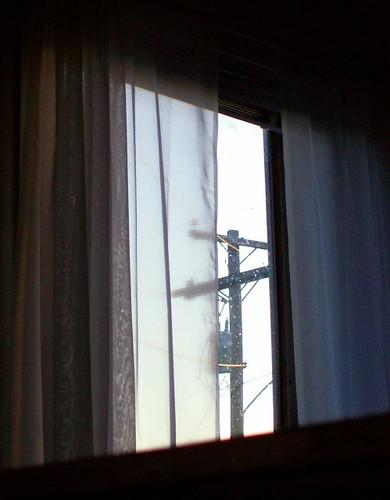 window mirror curtain pole powerline