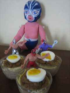 Mexican Wrestler Baby and Friends guard the Fluffy Mackererl Pudding