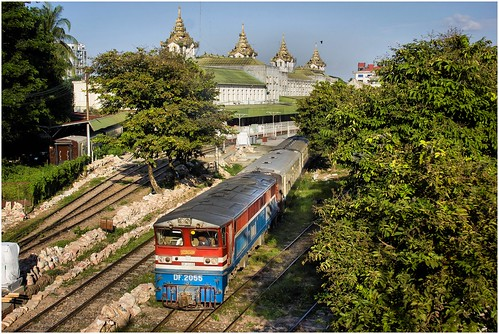 myanmar yangon train passengertrain myanmarailways diesellocomotive trees ef35350mm13556lusm canoneos550d trainsintasmania stevebromley railwaystation station yard railwayyard locomotive