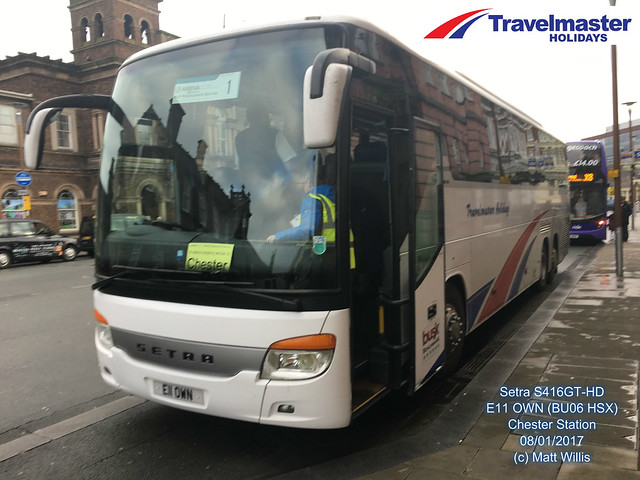OWENS TRAVELMASTER SETRA S416GT-HD  E11 OWN BU06 HSX CHESTER STATION SIDE VIEW 08012017