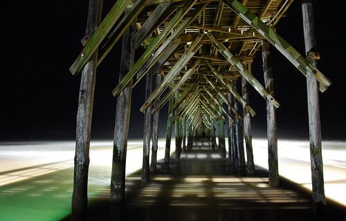 ocean longexposure sea beach night coast pier northcarolina atlanticocean topsailisland topsailbeach nikkor18200mmvr bitzcelt seaviewpier