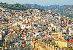 Macedonia, Kavala city view with Kamares aqueduct, Greece