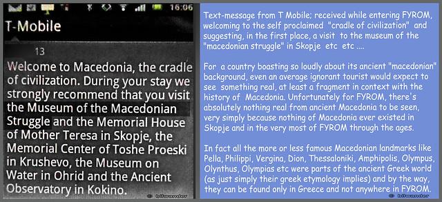 Skopje, T-mobile message revealing FYROM's total voidness of anything really macedonian #vardarska
